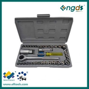 40pcs Carbon Steel Material box spanner socket set